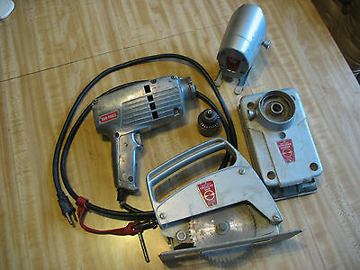 Old Vintage Unusual Drill with attachments jigsaw palm sander circular saw COOL