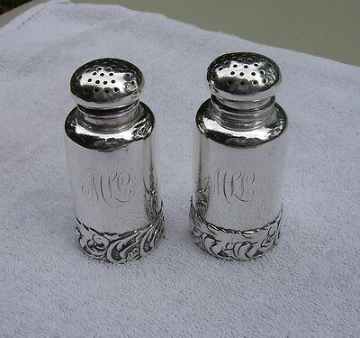 Antique SHIEBLER Sterling Victorian SALT & PEPPER SHAKERS-Scroll Foot-Mono-NR