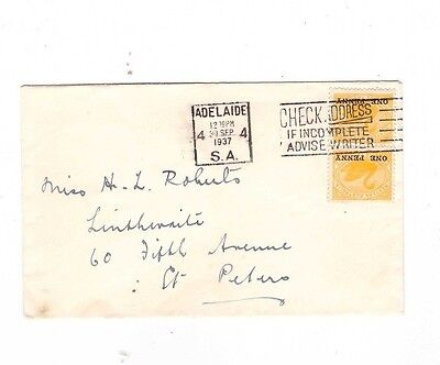Australia 1937 2 x 1d WA SWANS on Cover, cds ADELAIDE SA to ST PETERS
