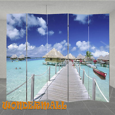 5 Panel Room Divider Privacy Screen Folding Partition Wooden Timber Beach Print