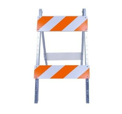 Traffic Street Barricade Wood and Metal Safety Road Sign Stand Reflective 8x24