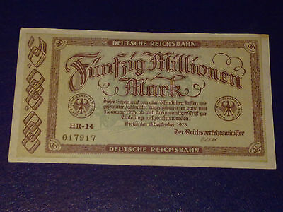 Germany - 50 Million Mark Rail Banknote 1923-Inflation -Extremely Fine
