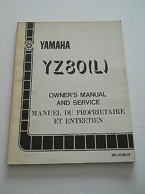 Yamaha Yz80 L 1984  Owners  Manual And Srvice
