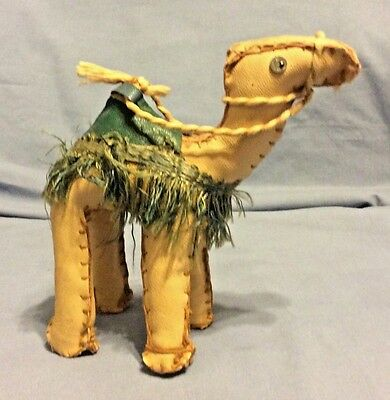 """Unusual Hand Stitched Crafted Leather & Fringe CAMEL Figurine Toy 5"""""""