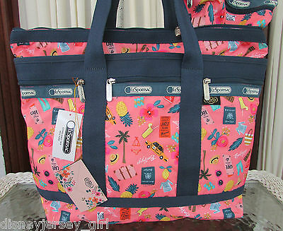 LeSportsac Rifle Paper Co.Medium Travel Tote Tropical Voyage & Cosmetic Bag NWT