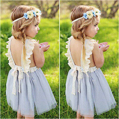 UK Toddler Kids Baby Girl Floral Summer Bowknot Party Dress Sundress Clothes