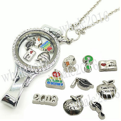 School Teacher Floating Glass Locket Lanyard ID Badge Holder Charms & Rolo Chain