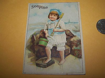 SOAPINE WASHING SOAP BOY on BEACH w/ SHOVEL TRADE CARD ADVERTISING PROVIDENCE RI