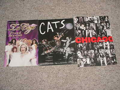 LOT OF 3 theatre PLAYS photo programs cats chicago live la gage frank marino