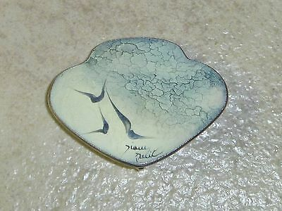 BIRDS ON THE WING Vintage Enameled Metal SIGNED Pin