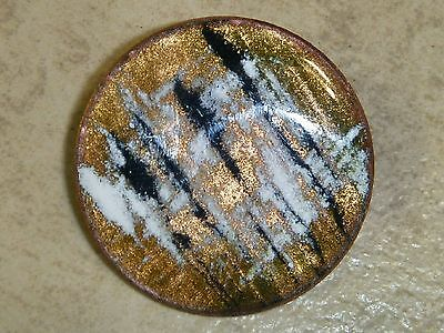 "MULTI-COLORED 1 3/8"" Vintage Round Enamel on Copper Pin"
