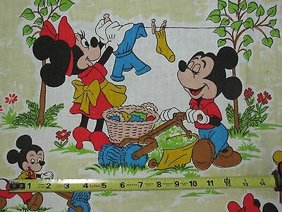 """Vintage Fabric ~ Disney Characters ~ Mickey & Minnie~ New ~ 89"""" x 76"""" ~ Unique"""