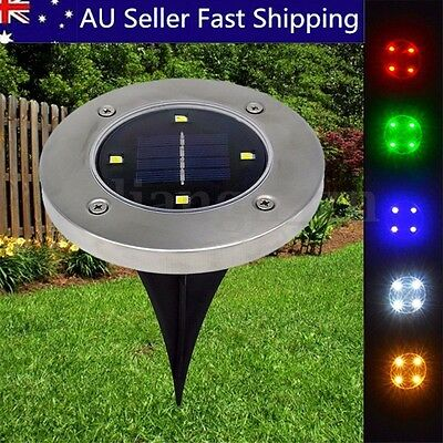 4 LED Solar Powered Ground Lawn Lamp Outdoor Garden Yard Pathway Night Light