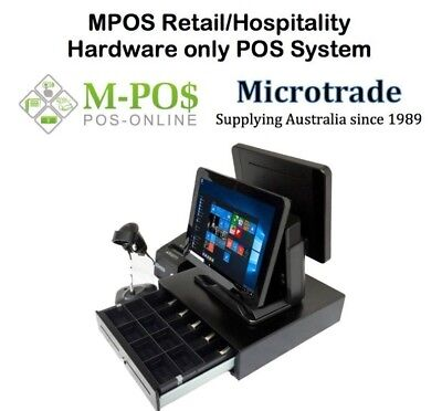"""Dual 15"""" MPOS214 All in One Terminal, Printer scanner cash drawer. Complete"""