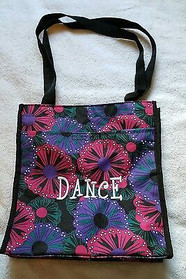 Dance Tote Bag Black Floral Embroidered Gymnastics Ballet Cheer Nylon