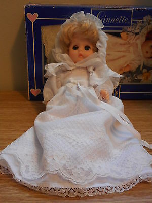 """Ginnette Vogue Doll  1984  8"""" Blonde hair in Long Christening Gown with box"""