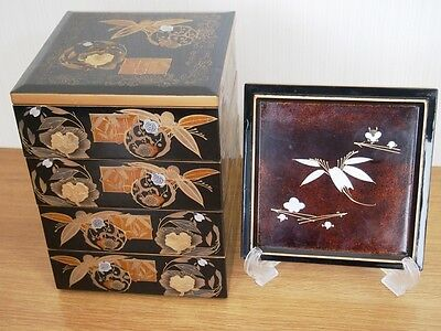 Real old Japanese tier of lacquered boxes JUBAKO from Japan