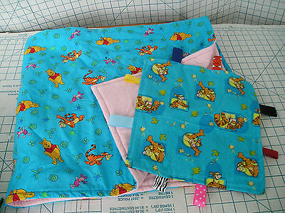 Winnie the Pooh Cotton and Flannel Blanket and Taggie Blanket - 2 pack gift set