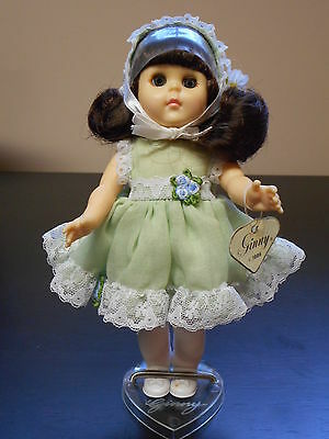 """Vogue Ginny Doll - Lime 1986c 8"""" Poseable Hard plastic Strung w/Box Heart Stand"""