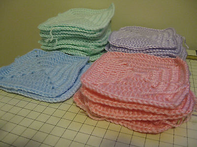 "GRANNY SQUARES Finished 5"" x 5"" for Baby Afghan  12-Green 2-Blue 6-Pink 7-Purple"