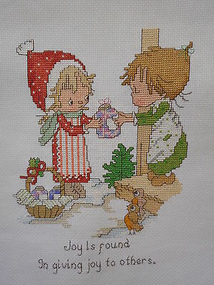 """Finished Cross Stitch Picture Christmas -Joy is Giving - Unframed 12""""x14"""""""
