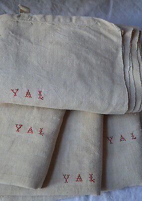 A large antique French YAL monogrammed linen hemp torchon/kitchen towel, unused