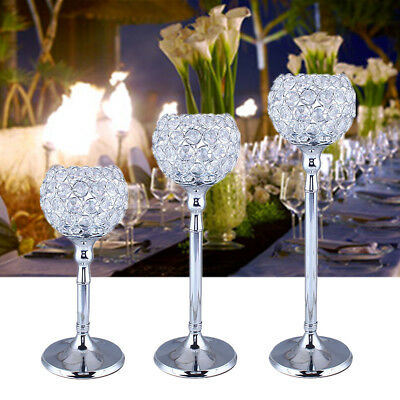 Silver Crystal Nickel Tea Light Candle Holders On Stem Ornament Home Decor Gift