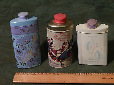 "(Mid-Century) AVON Perfumed Talc (LOT of 3) ""Blue Lotus""+ (Vtg. USA) Floral"