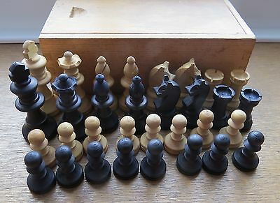 Vintage  Wooden Piece Chess Set - Boxed.