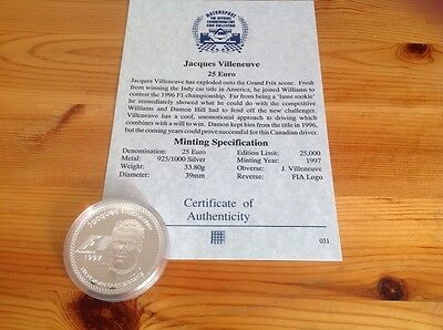 Jacques Villeneuve F1 motor racing drivers coin 25 euros 925/1000 silver collect