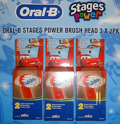 Genuine 6xOral-B Kids Disney Cars Stages Power Electric Toothbrush Refills Heads