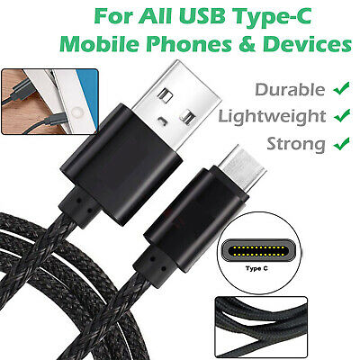 USB C 3.1 Type-C Data Sync Lead Fast Phone Charger Strong Braided Cable 1m 2m 3m