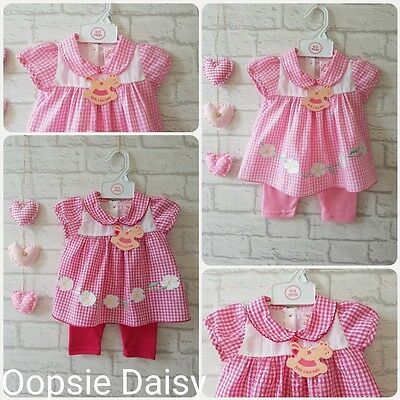 Gorgeous Baby Girls Pink Gingham Baby Dress & Leggings Set - 2 Colours - New