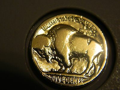 .999 24k Gold Plated Buffalo Nickel In 2x2 Coin Holder