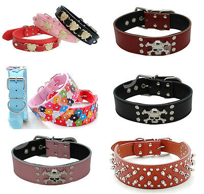 PU Leather Studded Pet Dog Cat Puppy Collar Neck Buckle Adjustable Neck Strap
