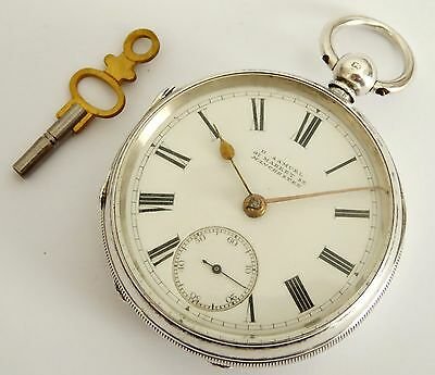 Large Thick Antique 1881 Fusee Hallmarked Sterling Silver H Samual Pocket Watch