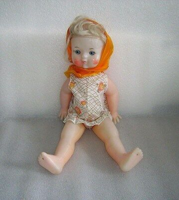Cute Vintage Plastic Doll, Painted Eyes, Ussr, Not Marked