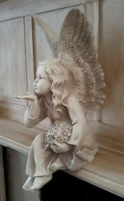 Antique White Sitting Fairy Angel Blowing a Kiss Figure Statue Shabby Chic