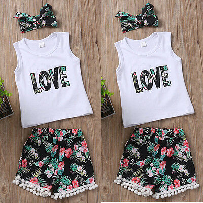 Infant Toddler Kids Baby Girl Clothes Top Shirt+Short Pants+Headband Outfits Set