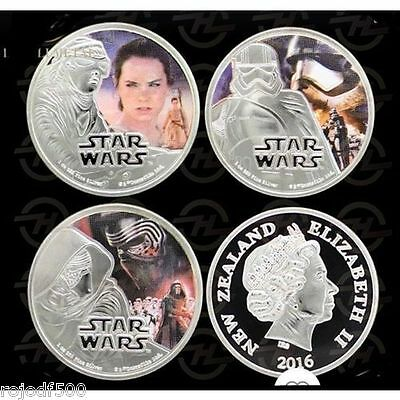 Star Wars The Force Awakens 2016 Silver Plated 3 Coin Set