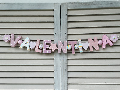 """""""valentina"""" Wooden Wall Letters Door Name Baby Shower Nursery Decor Shabby Chic"""