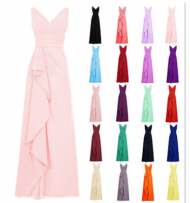 Long Chiffon V Neck Bridesmaid Formal Gown Party Evening Prom Maxi Dress