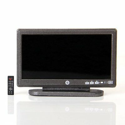 SS Dollhouse Miniature Widescreen Flat Panel LCD TV with Remote Gray