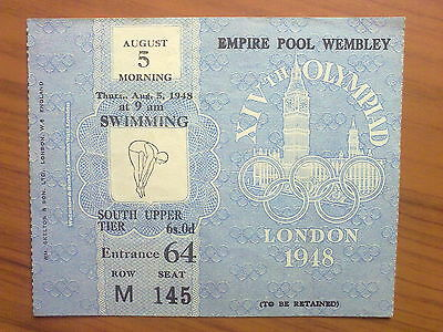 Ticket Olympic Games LONDON 1948 - SWIMMING 05.08.1948 (9 am)
