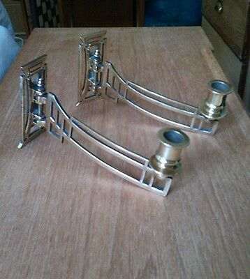 Pair of Solid antique Art deco brass copper wall sconce candle holders