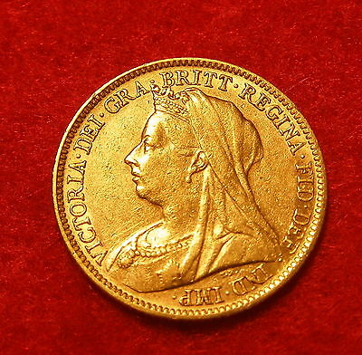 A Good Victoria 22 Carat Gold Half Sovereign. Dated 1901.