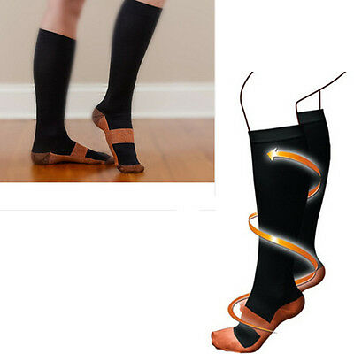 New Compression Travel Socks Knee High Miracle Copper Varicose Veins Circulation