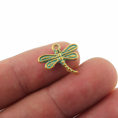 10X Dragonfly Antique Bronze Charms Bead Pendant DIY Jewelry Making 15*17mm