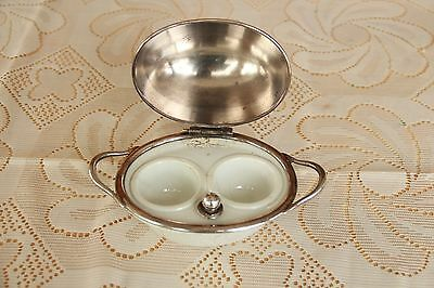 Hukin and Heath Silver Plate And Porcelain Double Egg Warmer Hard Boiled Eggs