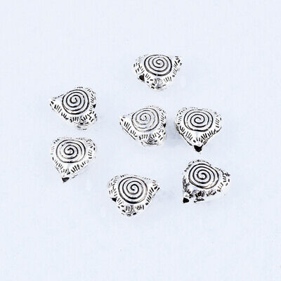 20pcs Tibetan silver Metal Heart Loose Charms Spacer Beads Jewelry Finding 8.5mm